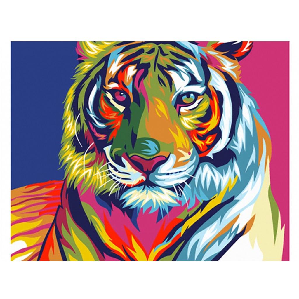 """Раскраска по номерам """"Радужный тигр"""" на холсте, 30 x 21 см ..."""