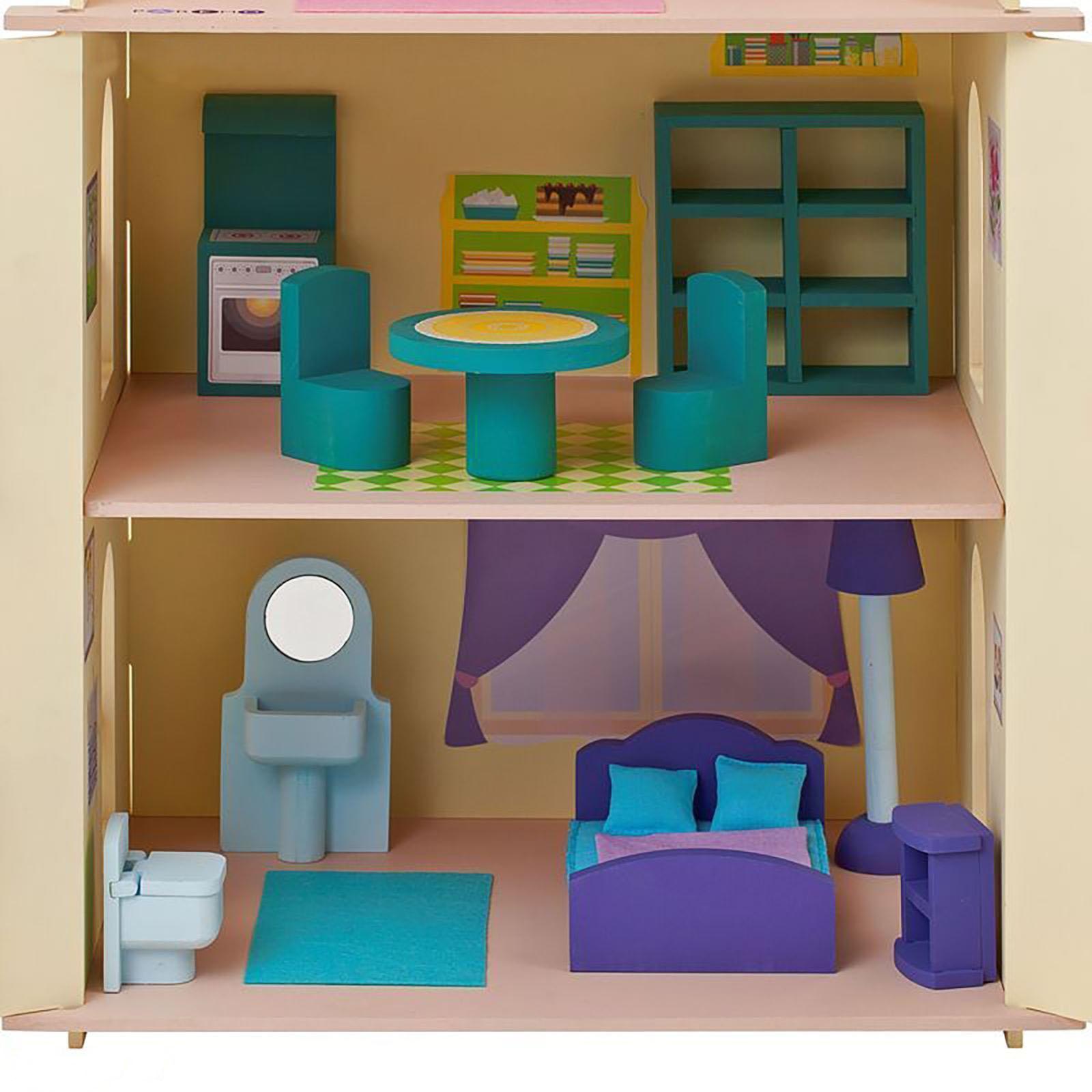 Деревянный кукольный домик с 15 предметами мебели - софия от.