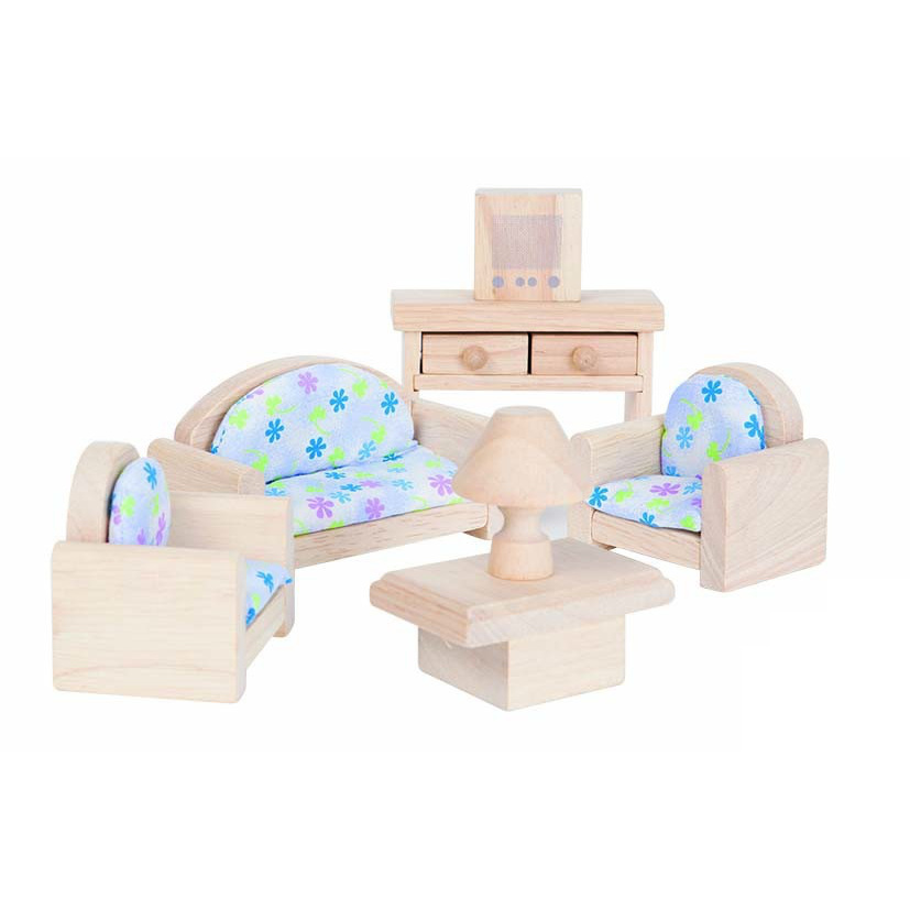 набор деревянной мебели для кукол классическая гостиная голубая 1 081 р